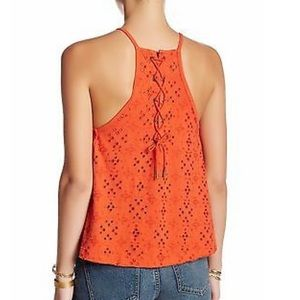 NWT FREE PEOPLE Dream Date Lace-Up Trapeze Top